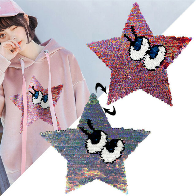 stars eyes patches reversible change color sequins sew on patches for clothesE9C