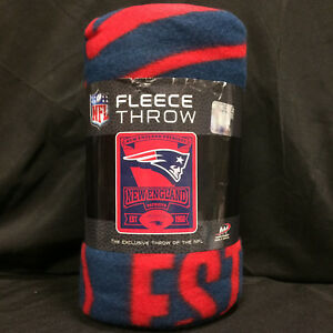 New England Patriots Marque Pats NE NFL Football Fleece Blanket Throw NEW 50x60""