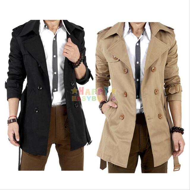 Men Stylish Winter Slim Double Breasted Trench Coat Long Jacket Overcoat Outwear