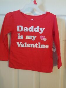 Valentine Toddler Girls Red Sorry Boys Daddy is My T-Shirt Long Sleeve Top