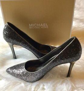d184ddd0ad8e Image is loading MICHAEL-Michael-Kors-Ladies-CLAIRE-Glitter-Fabric-Pumps-