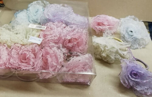 4 roses cheveux leur poulette Blanc//Rose//Violet.//bleu Sparkle Paillettes Dentelle Roses £ 2.75