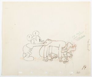 Society Dog Show Mickey Mouse and Pluto Production Drawing (Walt Disney, 1939).