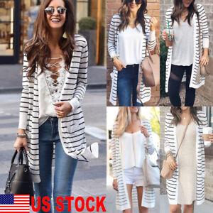 Women-Long-Sleeve-Striped-Loose-Knitted-Jumper-Cardigan-Outwear-Jacket-Tops-Coat