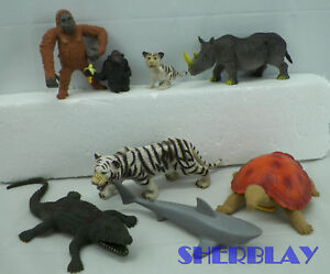 Ambitieux 8 Animal Figure Lot Singe Tigre + + Toy Major Imperial & Plus Avec Playmobil Shark-afficher Le Titre D'origine