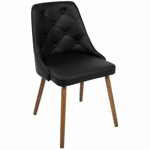 OPEN-BOX-Giovanni-Mid-Century-Modern-Dining-Accent-Chair-in-Walnut-and-Black