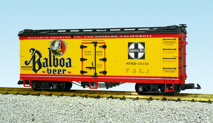 USA Trains G Scale US Reefer Car R16428 Balboa Beer – Yellow/Red