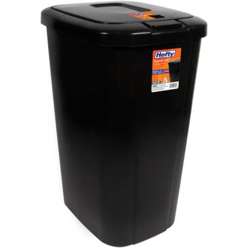 Kitchen Trash Can 13 Gallon Garbage Bin Waste Basket Touch Lid Plastic Black