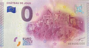 BILLET-0-EURO-CHATEAU-DE-JOUX-FRANCE-2015-NUMERO-2000