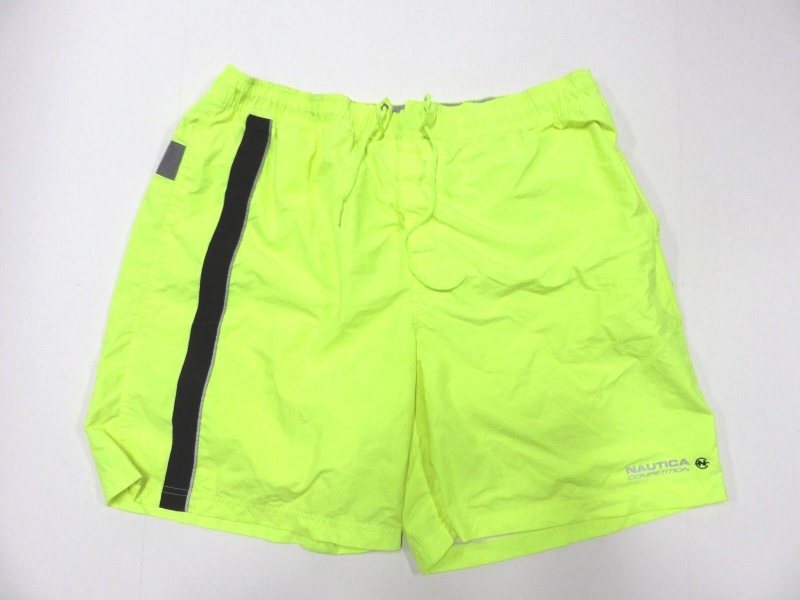 NAUTICA COMPETITION Neon Reflective Yellow Swim Trunks Mesh Inside Adult Sz XXL