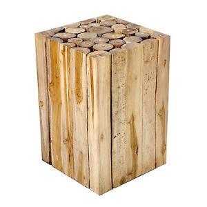 beistelltisch couchtisch aus teakholz teak holz massiv block hocker blumenhocker ebay. Black Bedroom Furniture Sets. Home Design Ideas