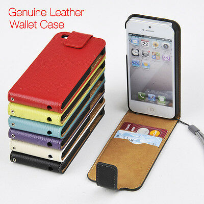 For iPhone 4/4s 5s/5c/SE 6/6s Genuine Leather Wallet Case Slim Top Flip Cover a1