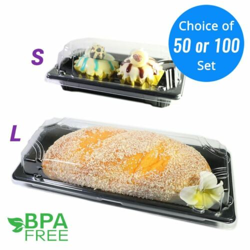 50//100 Square BPA-Free Clear Plastic Black Base Cake Take Out Container OA