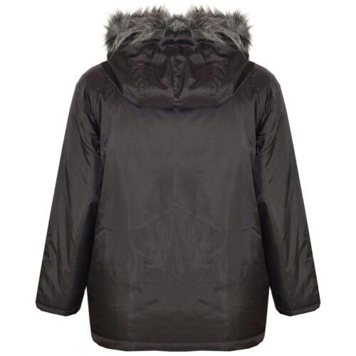 Bambini Ragazzi Giacche di marca IMBOTTITO PELLICCIA SINT con cappuccio Scuola cappotto caldo spessore 2-13 ANNO