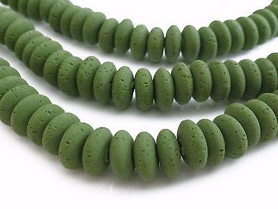 Estilo De Moda Aprox. 105 Perlas Polímero Clay Aprox. 8x3-4mm Verde Oliva A Mano Nenad-design S74 Brillante En Color