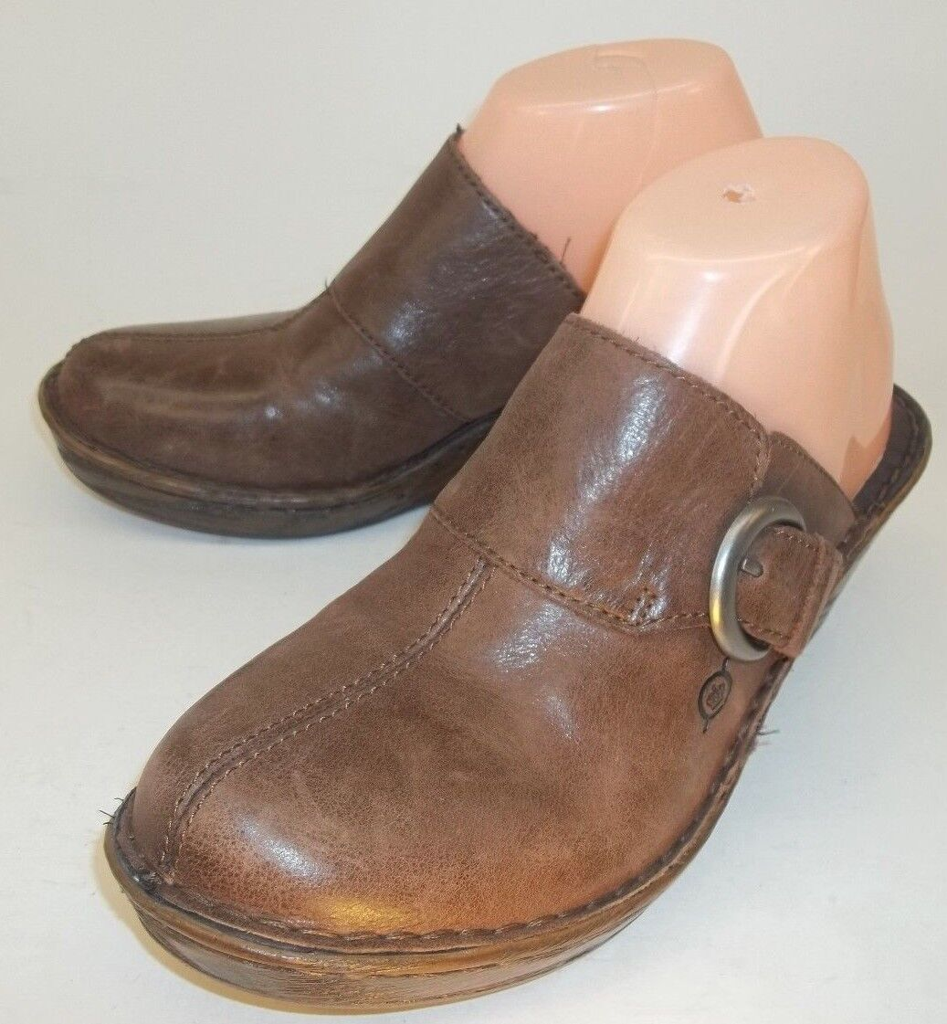 Born femmes chaussures Clogs Mules US 9 M marron Leather Heels Buckle Work Play Dress