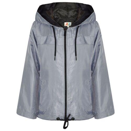 Kids Girls Boys Silver Hooded Raincoat Cagoule Lightweight Jacket Rain Mac 5-13Y