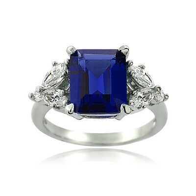 925 Silver Created Blue Sapphire & CZ Marquise Rectangle Ring