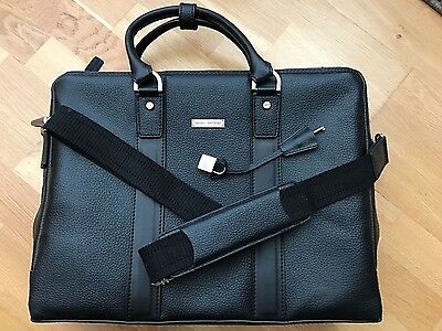 Brooks Brothers Briefcase With Strap Pebbled Leather Black