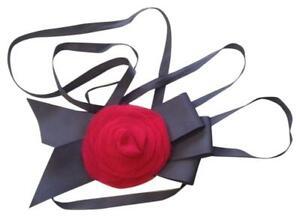 Super cute new J.Crew Grey Silk & Grosgrain Sash Headband Red Flower women's $70