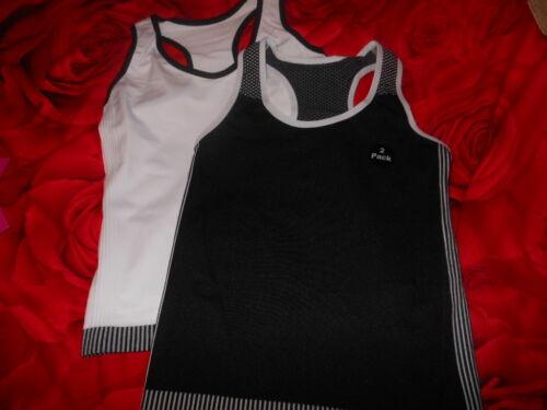 Bnwts Girls Black//White  Seamfree Sports Racer vest long tops 7-13 Years
