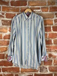 Robert Graham XL Floral Paisley Flip Cuff Executive Banker Blue Striped Shirt