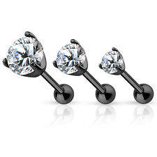 3 lot BLACK Metal CLEAR CZ TRAGUS CARTILAGE Bar Earring Barbell Piercing Jewelry