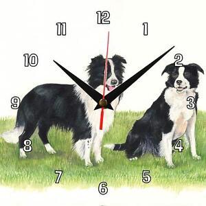 No 75 Border Collies Dogs Sue Podbery Wall Clock Handmade Gift