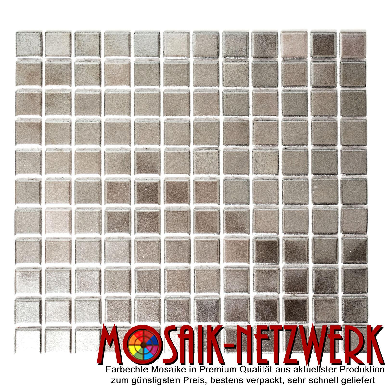 Mosaik silber Keramik Küche Wand Bad Fliesen Quadrat uni | Art: 18-0206_f | 1 qm