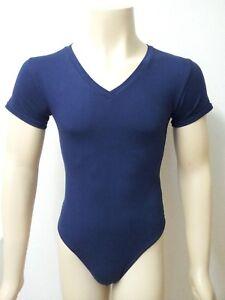 Men/'s ballet cotton V neck short sleeved  leotard