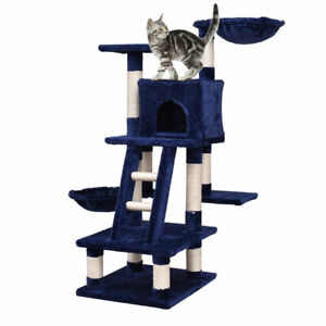 Beige Cat Tree Bed Furniture Scratching Tower Post Condo Kitten Pet Play House