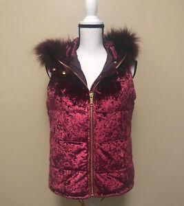 NEW-MK-Michael-Kors-Womens-Burgundy-Velvet-Vest-Jacket-Outerwear-Size-S