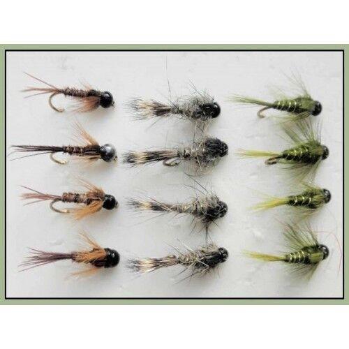 Tungsten bead Truites Mouches Olives Faisan Queue Mélange Tailles pack de 12 Lièvres Oreille