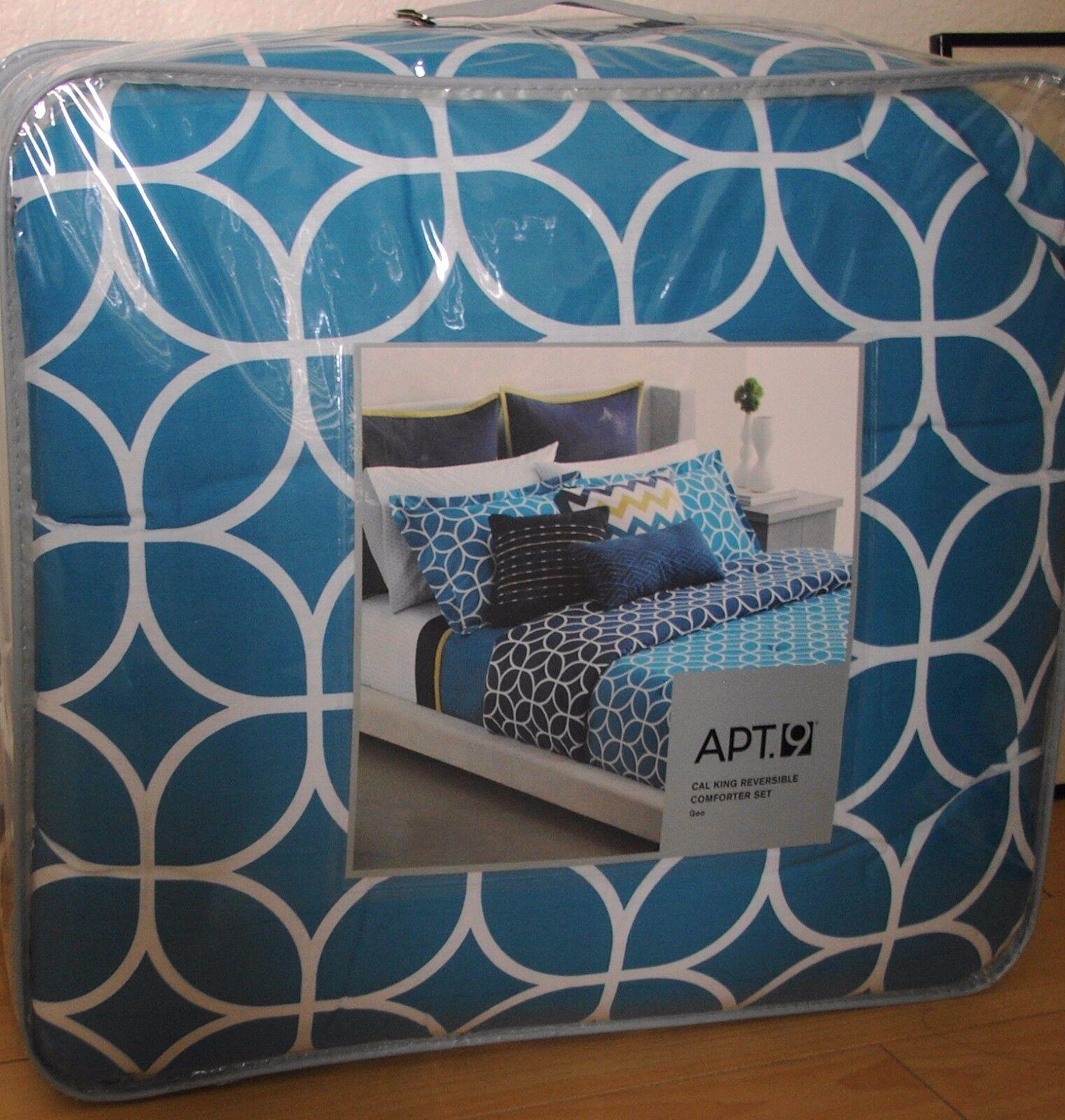 New Apt 9 GEO Reversible  Comforter Set - Gemetric blu bianca Cal King