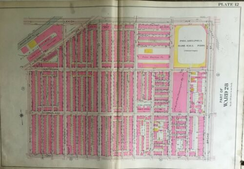 1908 PHILADELPHIA PHILLIES PENNSYLVANIA BAKER BOWL STADIUM 19TH-BROAD ATLAS MAP