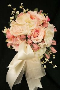 Round bride wedding bouquet silk flowers blush and ivory roses 13 image is loading round bride wedding bouquet silk flowers blush and mightylinksfo