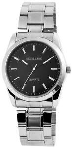 Excellanc-Herrenuhr-Schwarz-Silber-Edelstahl-Quarz-Armbanduhr-X280621000007