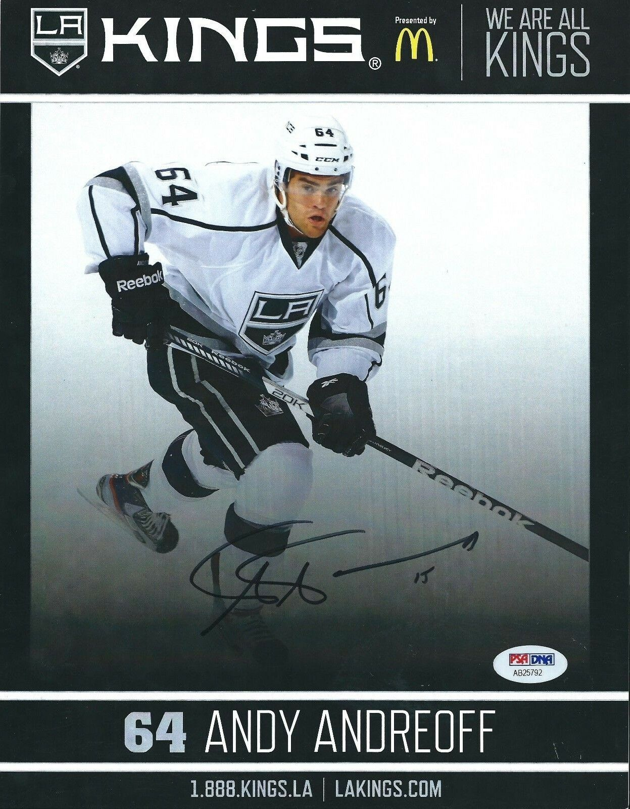 Andy Andreoff Signed Los Angeles Kings Hockey 8.5x11 Photo PSA AB25792