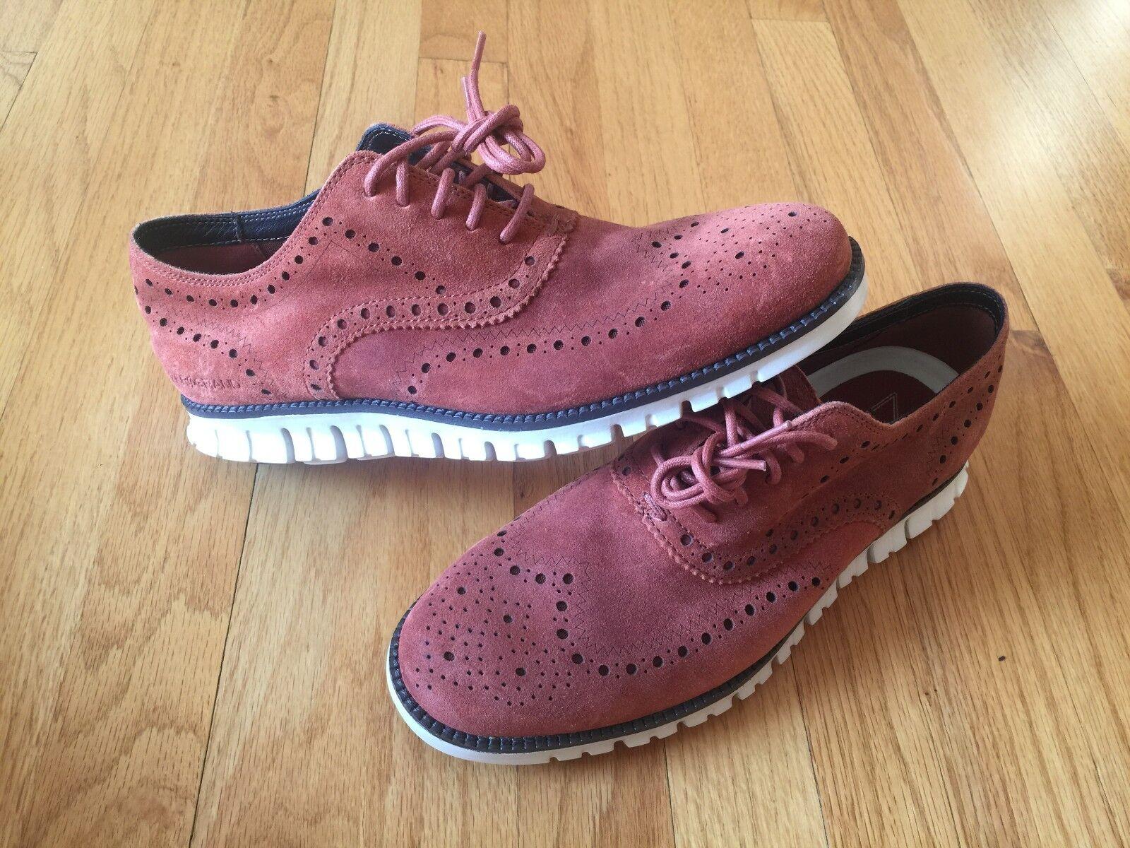Cole Haan zerogrand punta del ala Oxford Zapato De Gamuza Brandy Marrón Marfil C25561 Talla 8.5 9