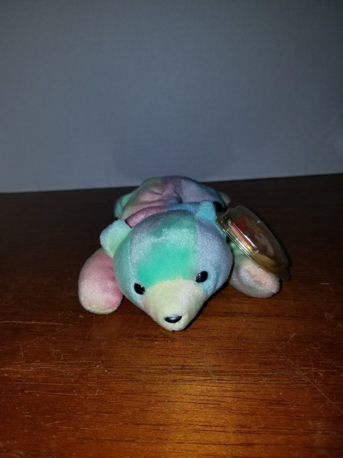 Ty Beanie Sammy the Tye Dye Bear with Green Face with Errors FREE SHIP