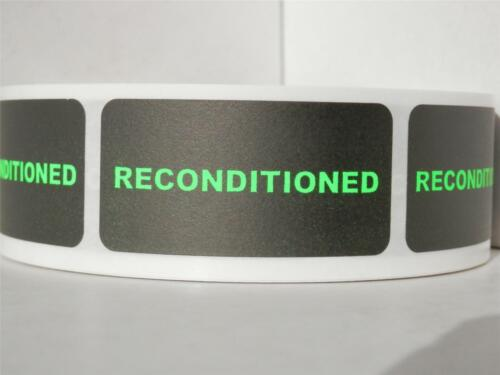 RECONDITIONED 1x2 rectangle neon green letters black bkgd Sticker Label 250rl