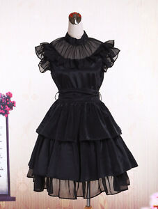 Rayon-Gothic-Black-Lolita-Sleeveless-Layers-Ruffles-Dress