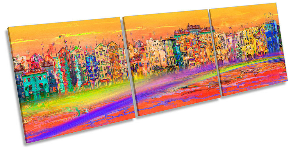 Abstract Orange Cityscape Picture CANVAS WALL ART Triple Print