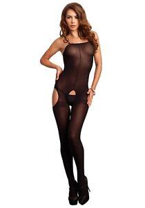 Leg-Avenue-8195-Catsuit-36-42-body-Stocking-negro-S-L-paso-abierto-medias-Hot