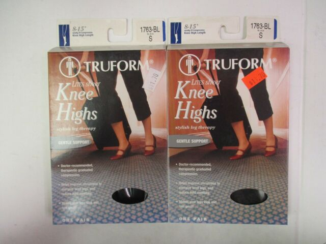 0399665800c 2 TRUFORM LEG HEALTH STOCKINGS SHEER KNEE HIGH 8-15 mmHg BLACK SMALL - EW