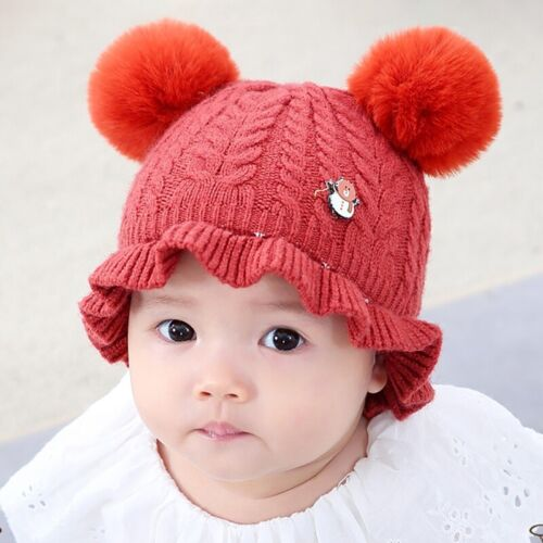 Knitted Warm Boys Girls Newborn-12 Months Baby Hat Double Pom Pom Bobble Beanie