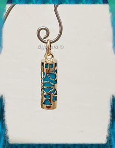 Pendentif-Tiki-Polynesien-Plaque-Or-18-Carats-amp-Turquoise-Bijoux-Femme