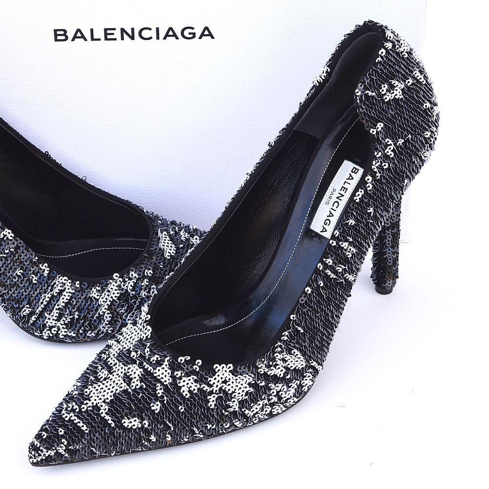 BALENCIAGA New sz 40 - 9.5 9.5 9.5 Auth Designer mujer Pumps Heels zapatos negro  1335  genuina alta calidad
