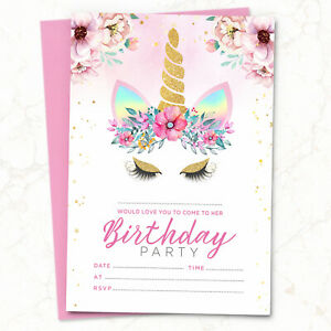 10-x-Unicorn-Birthday-Party-Invitations-Invites-Girl-Children-Kids-Pack