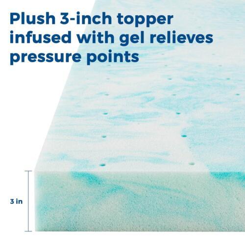 3 Full Queen King LINENSPA 2 4 inch Soft Plush Swirl Gel Memory Foam Topper